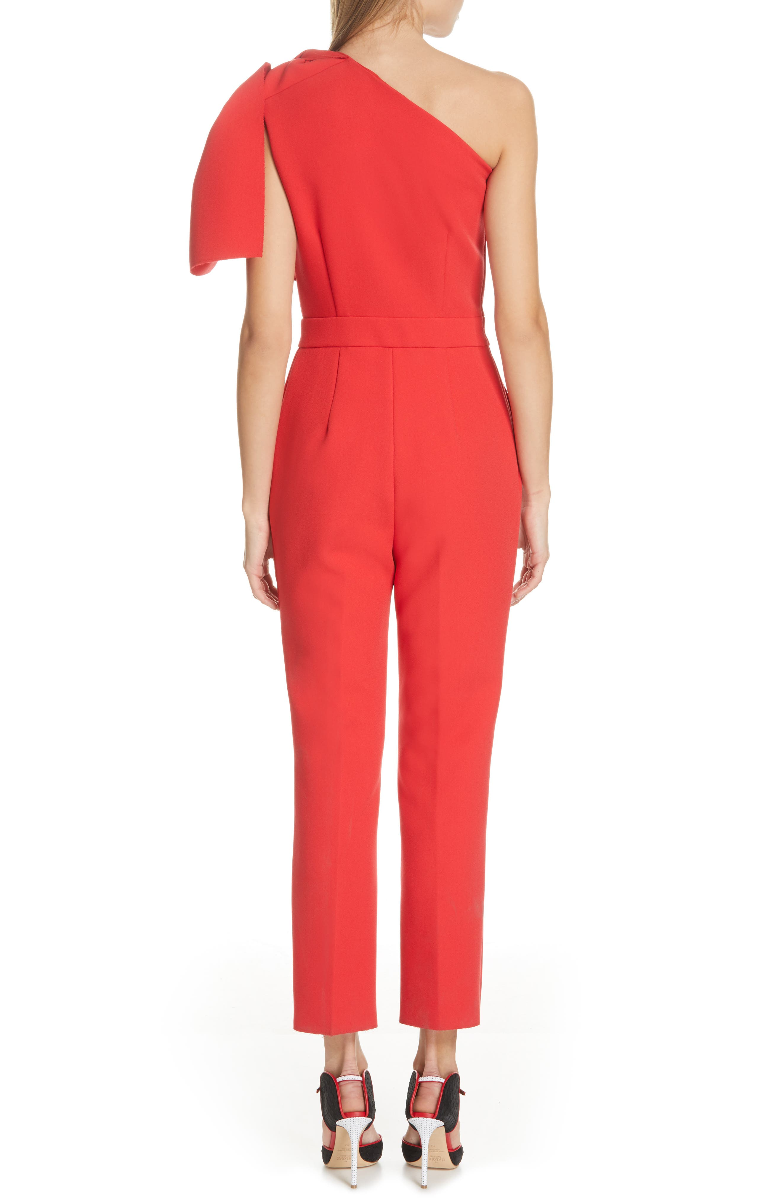 ,                             Bow One-Shoulder Jumpsuit,                             Alternate thumbnail 2, color,                             RED
