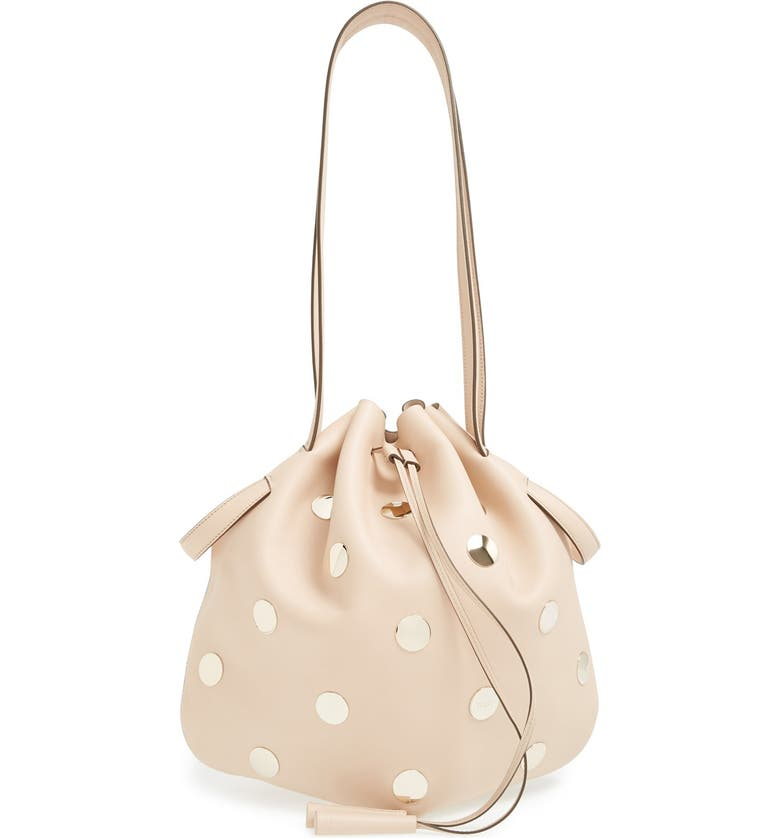 TOD'S Studded Leather Drawstring Tote, Main, color, 250