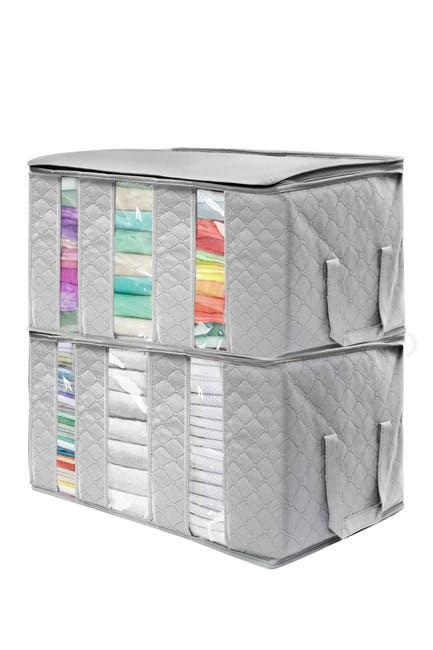 Image of Sorbus Foldable Fabric Storage Organizer Bag - Set of 2 - Grey