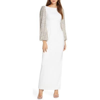 Eliza J Crepe V-Back Gown With Sequin Long Sleeves, Ivory
