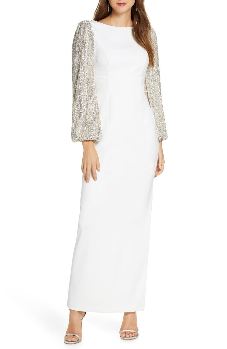 ELIZA J Crepe V-Back Gown with Sequin Long Sleeves, Main, color, IVORY