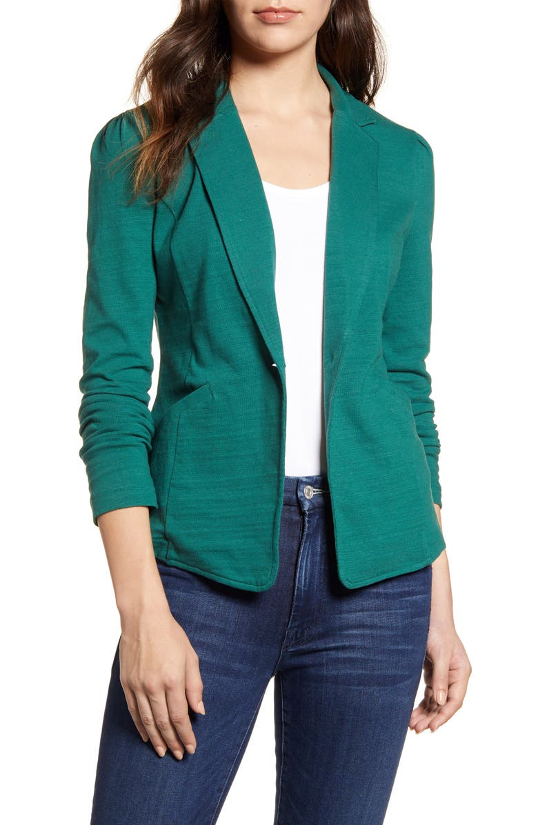 CASLON<SUP>®</SUP> Knit One-Button Blazer, Main, color, GREEN POSY