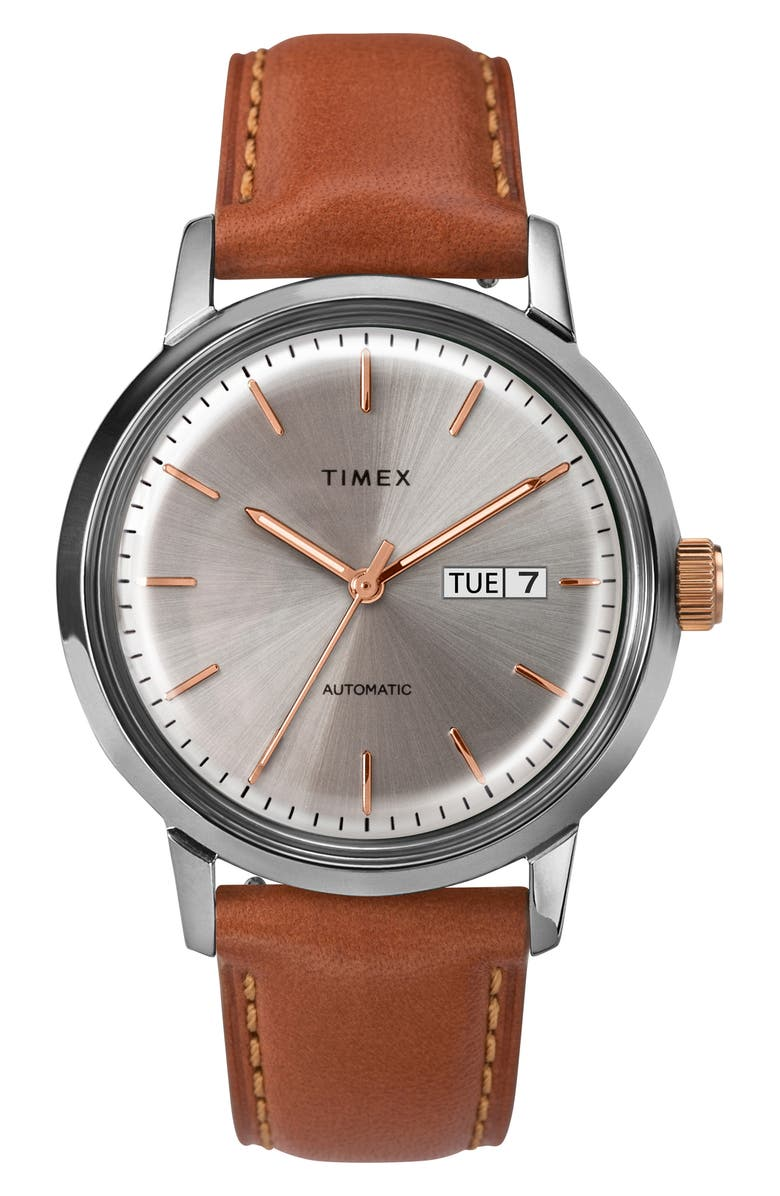TIMEX<SUP>®</SUP> Marlin Automatic Leather Strap Watch, 40mm, Main, color, TAN/ SILVER/ GREY