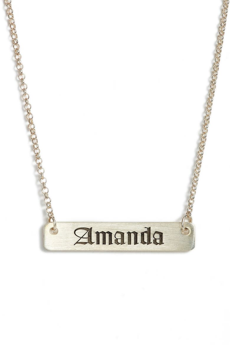 ARGENTO VIVO Personalized English Font Bar Necklace, Main, color, SILVER