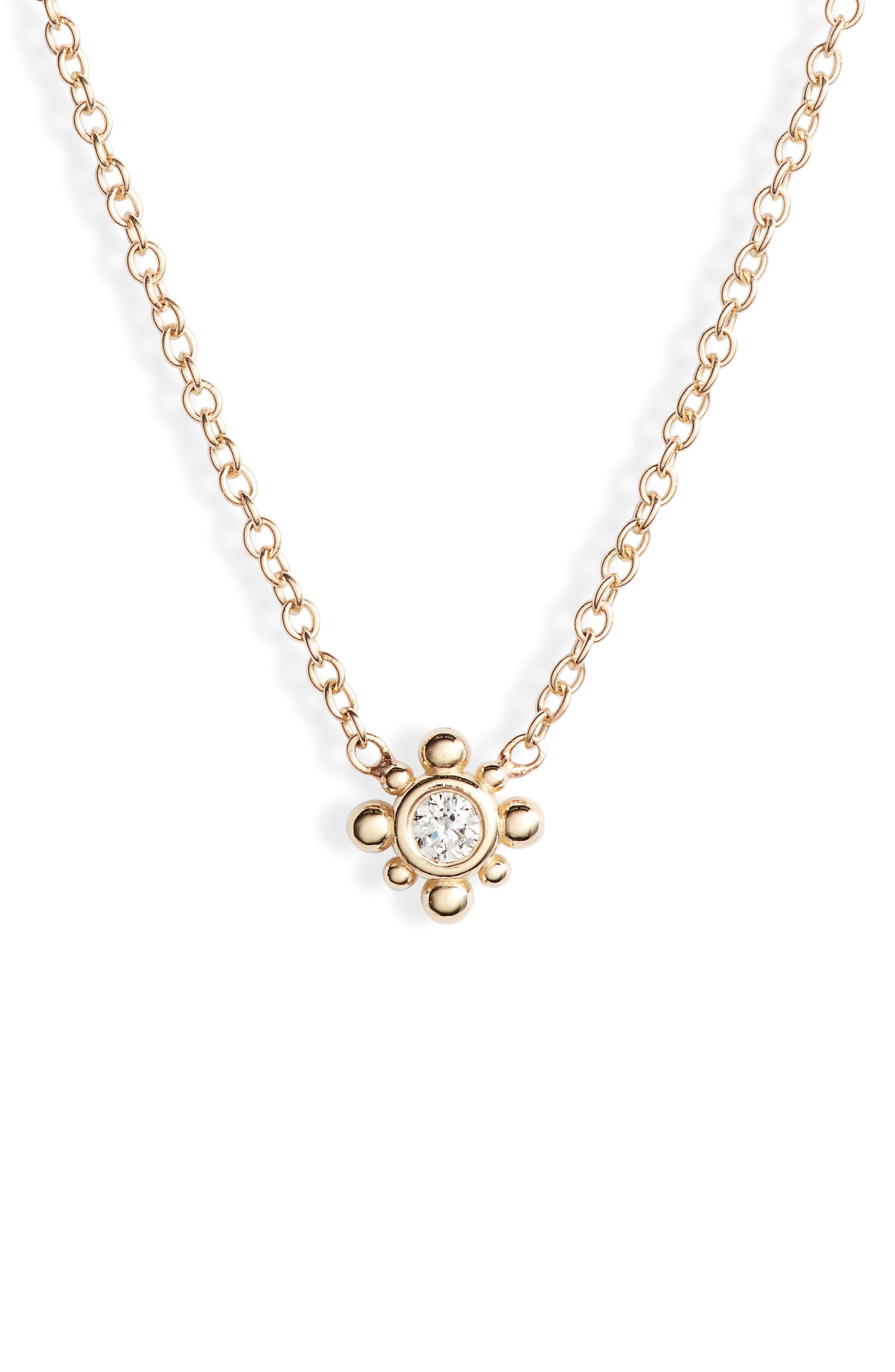 Zoe Chicco Bead Diamond Station Necklace