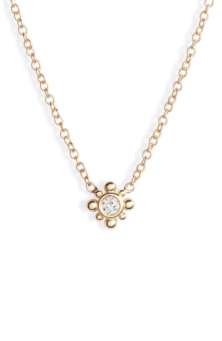 ZOË CHICCO Bead Diamond Station Necklace, Main, color, DIAMOND/ YELLOW GOLD
