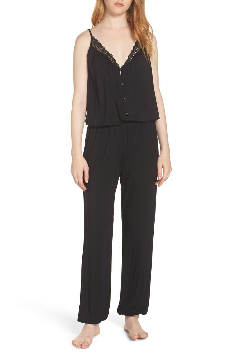 EBERJEY Luci Button Front Jumpsuit, Main, color, BLACK