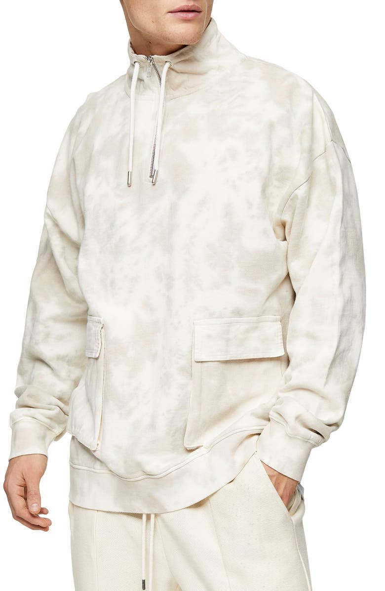 TOPMAN Western Utility Marbled Quarter Zip Pullover, Main, color, STONE