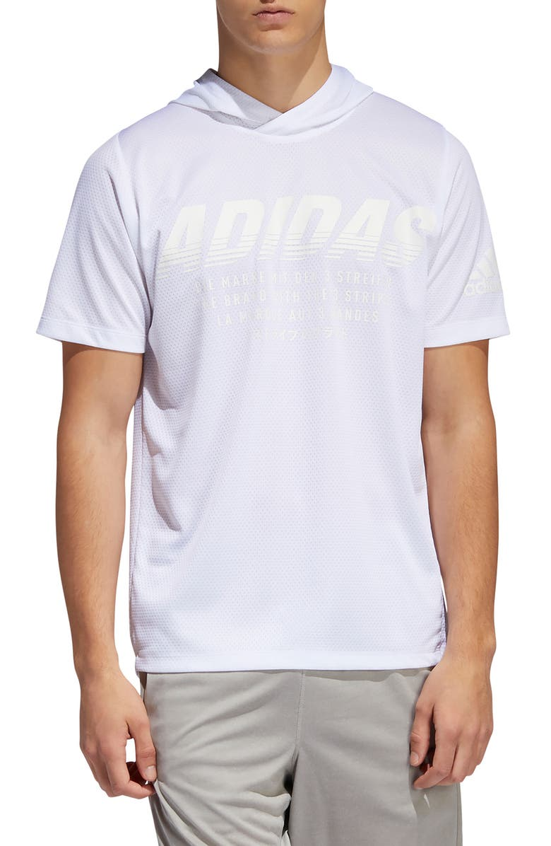 ADIDAS FreeLift Stretch Short Sleeve Hoodie, Main, color, WHITE