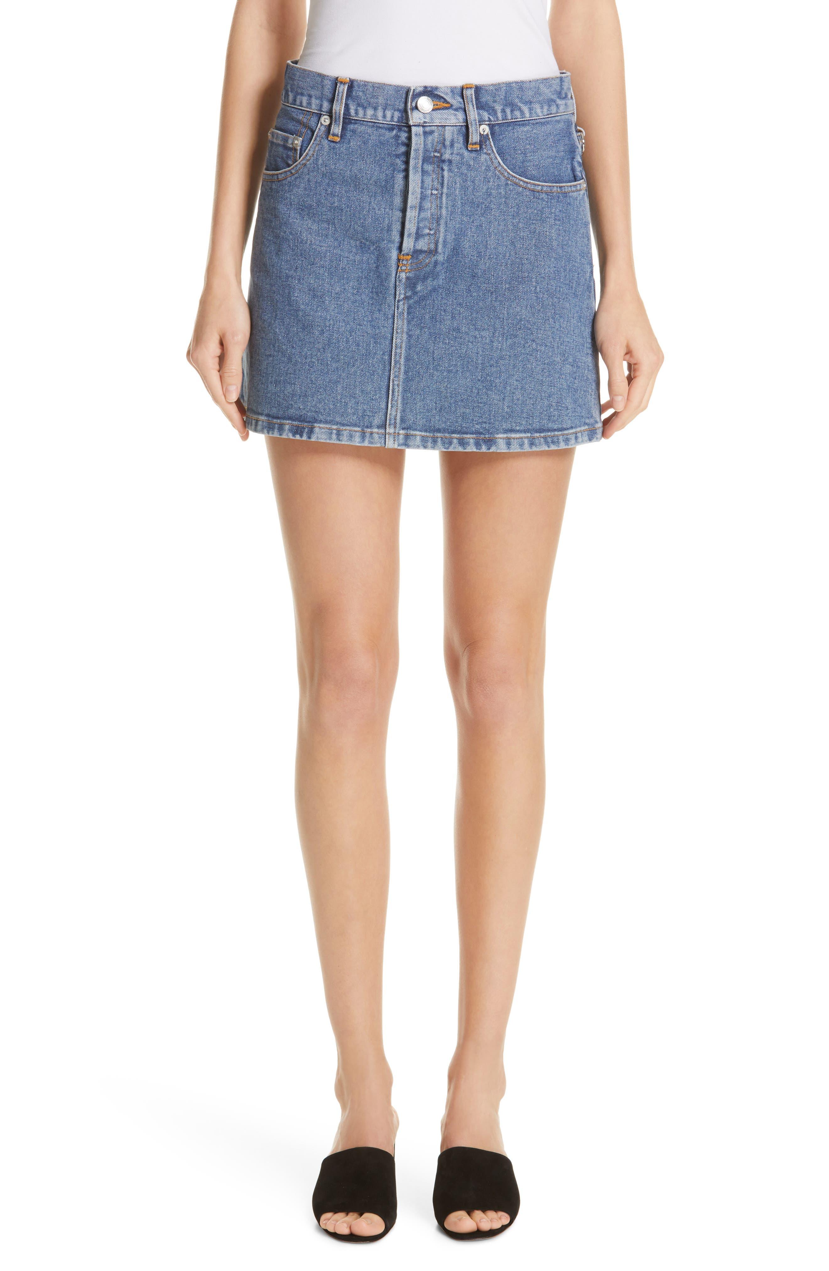 Denim Miniskirt, Main, color, VINTAGE WASH 4