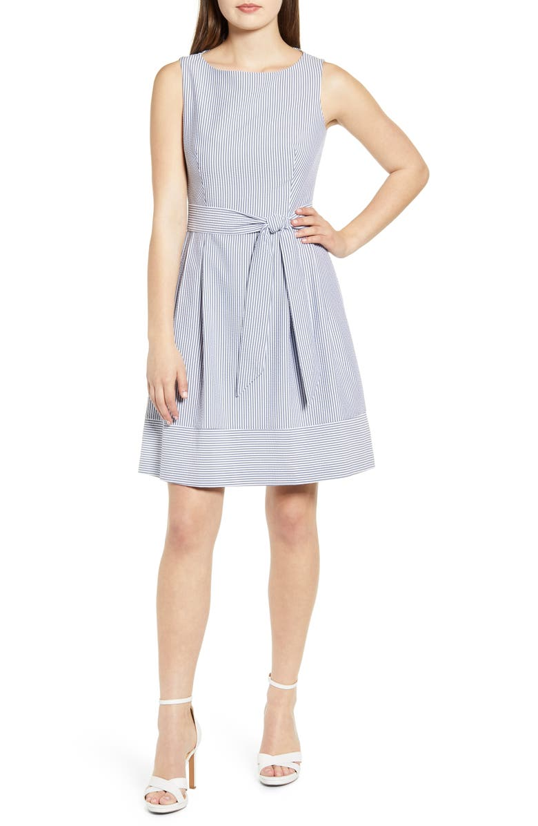 ANNE KLEIN Seersucker Sleeveless Fit & Flare Dress, Main, color, MOON GREY/ WHITE