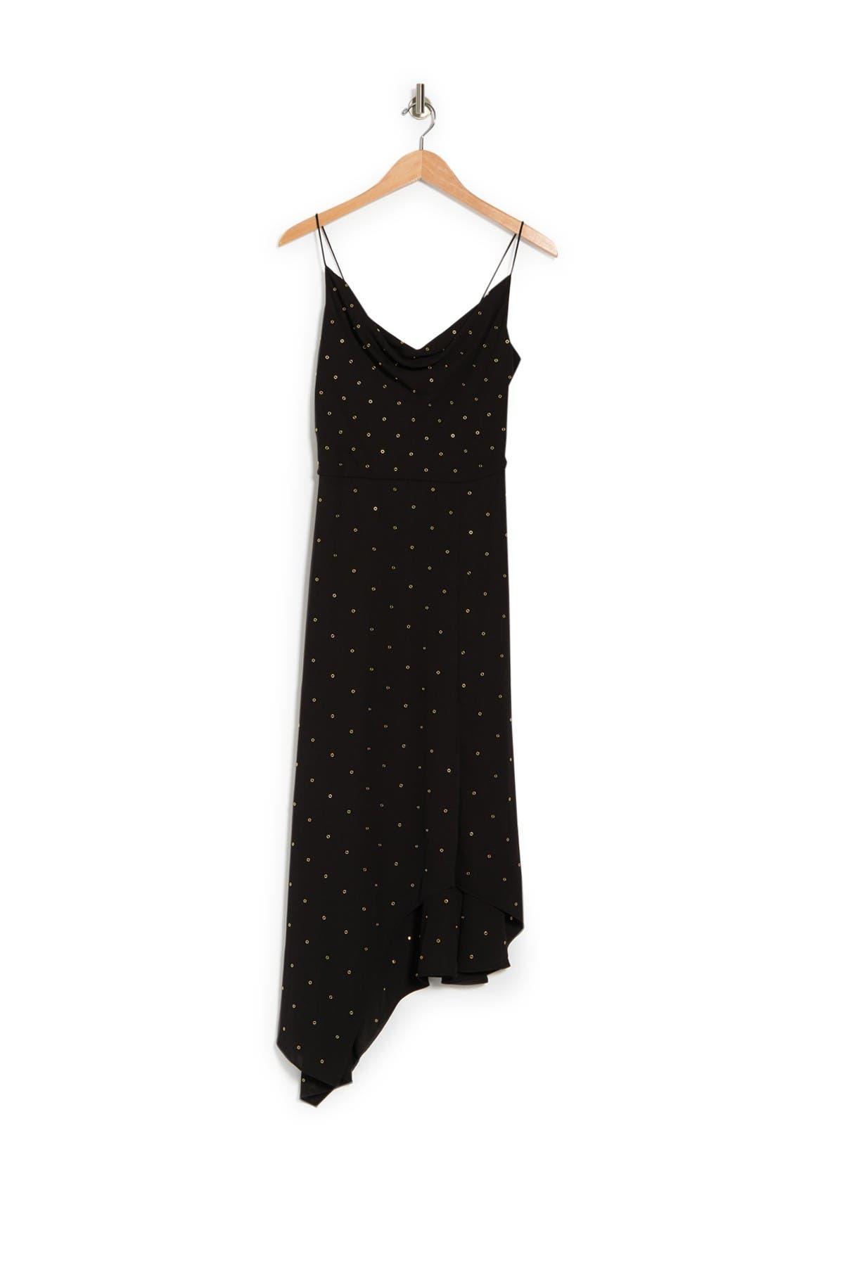 Image of VERONICA BEARD Heera Dotted Print Asymmetrical Hem Dress