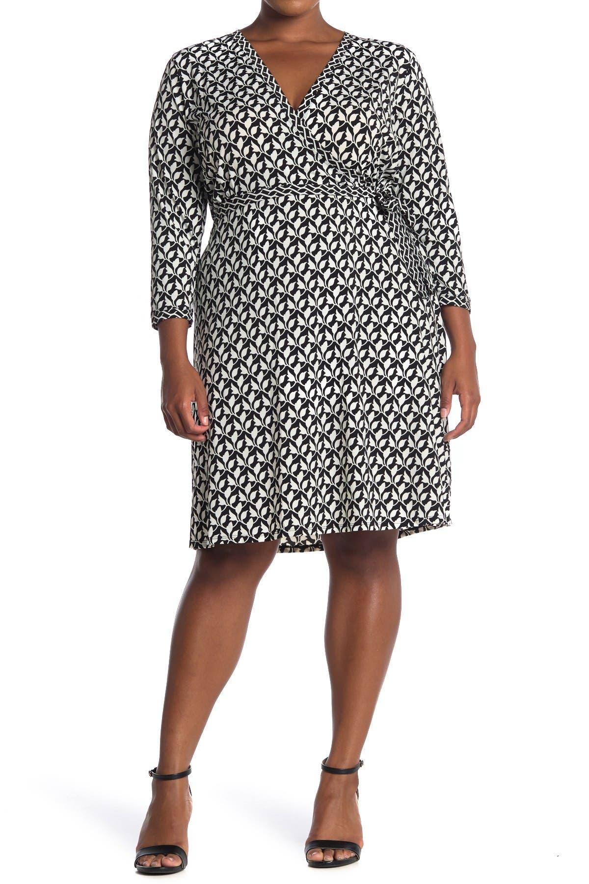 Image of Max Studio Floral Knee Length Wrap Dress