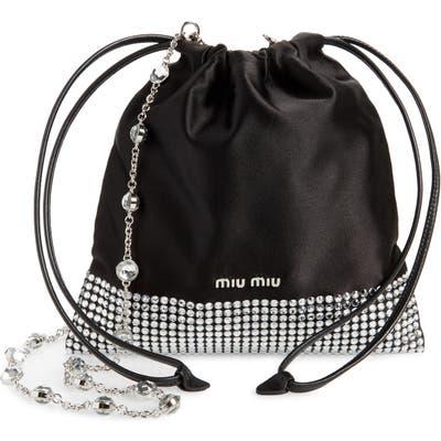 Miu Miu Strauss Crystal Embellished Shoulder Bag - Black