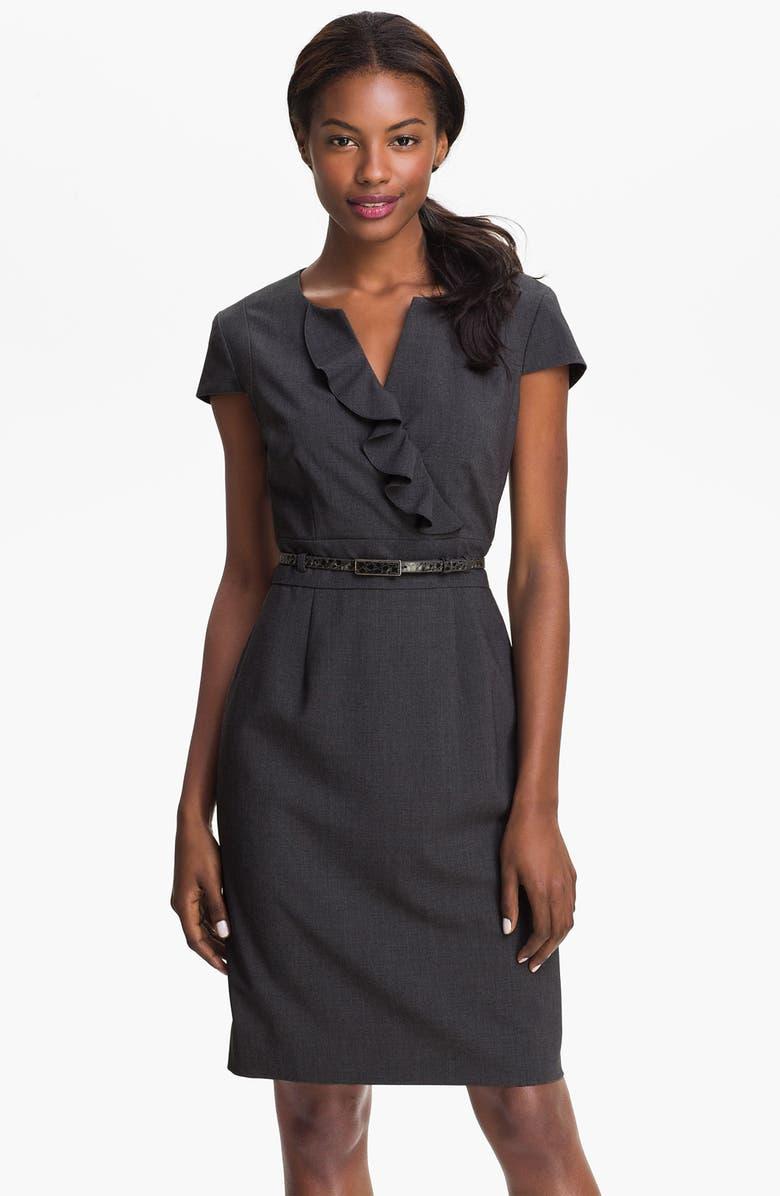TAHARI 'Shelly' Ruffle Front Belted Sheath Dress, Main, color, 020
