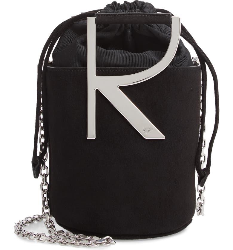 ROGER VIVIER Mini Leather Bucket Bag, Main, color, NERO