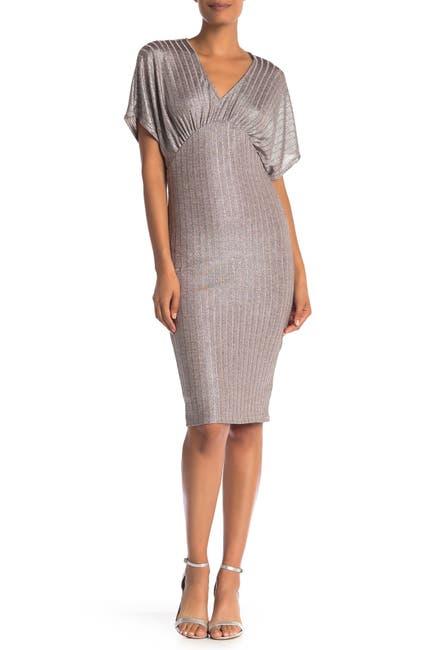 Image of Vanity Room V-Neck Metallic Ribbed Knit Midi Dress