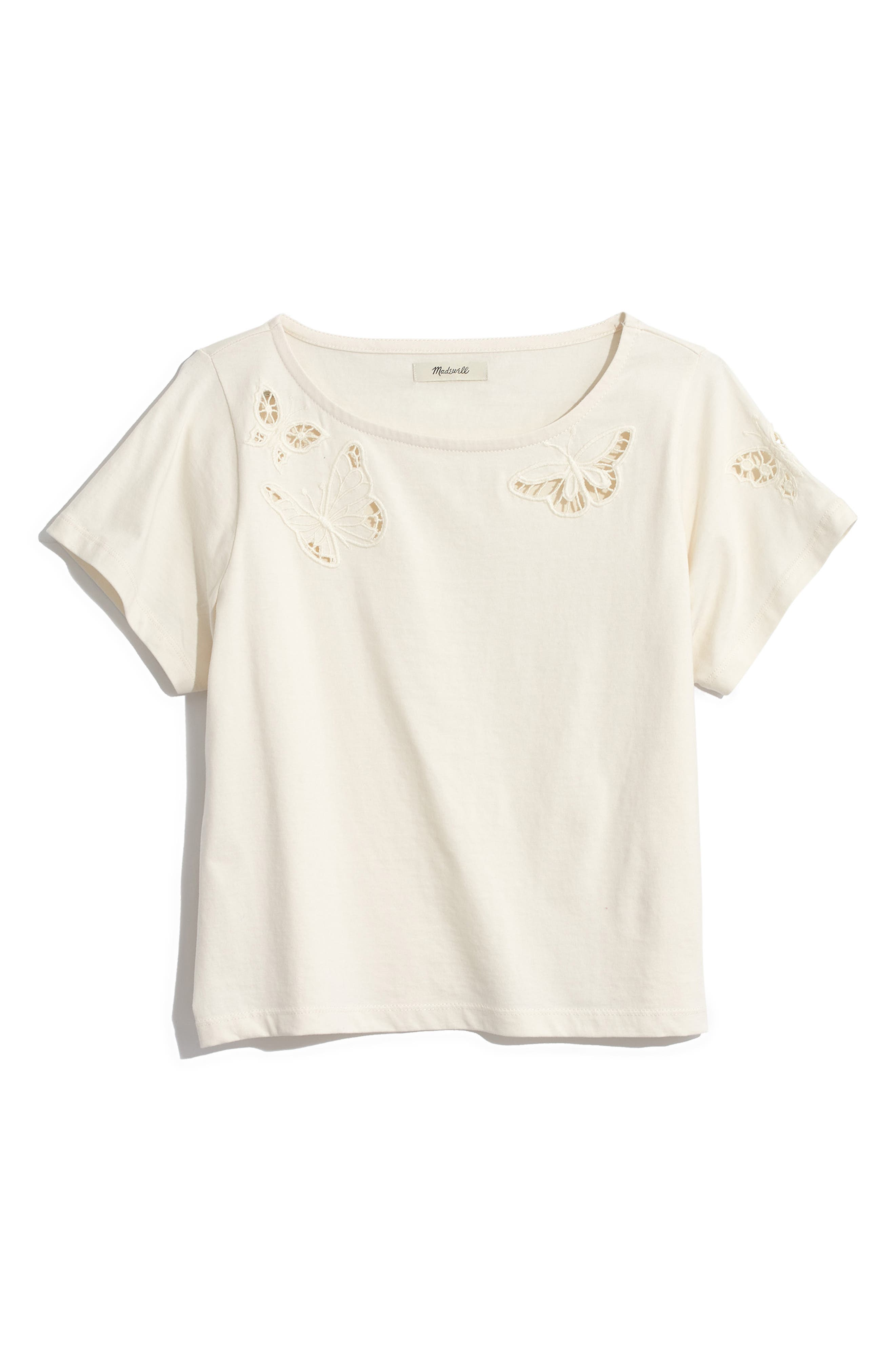 ,                             Butterfly Embroidered Eyelet Setlist Boxy Tee,                             Main thumbnail 7, color,                             900