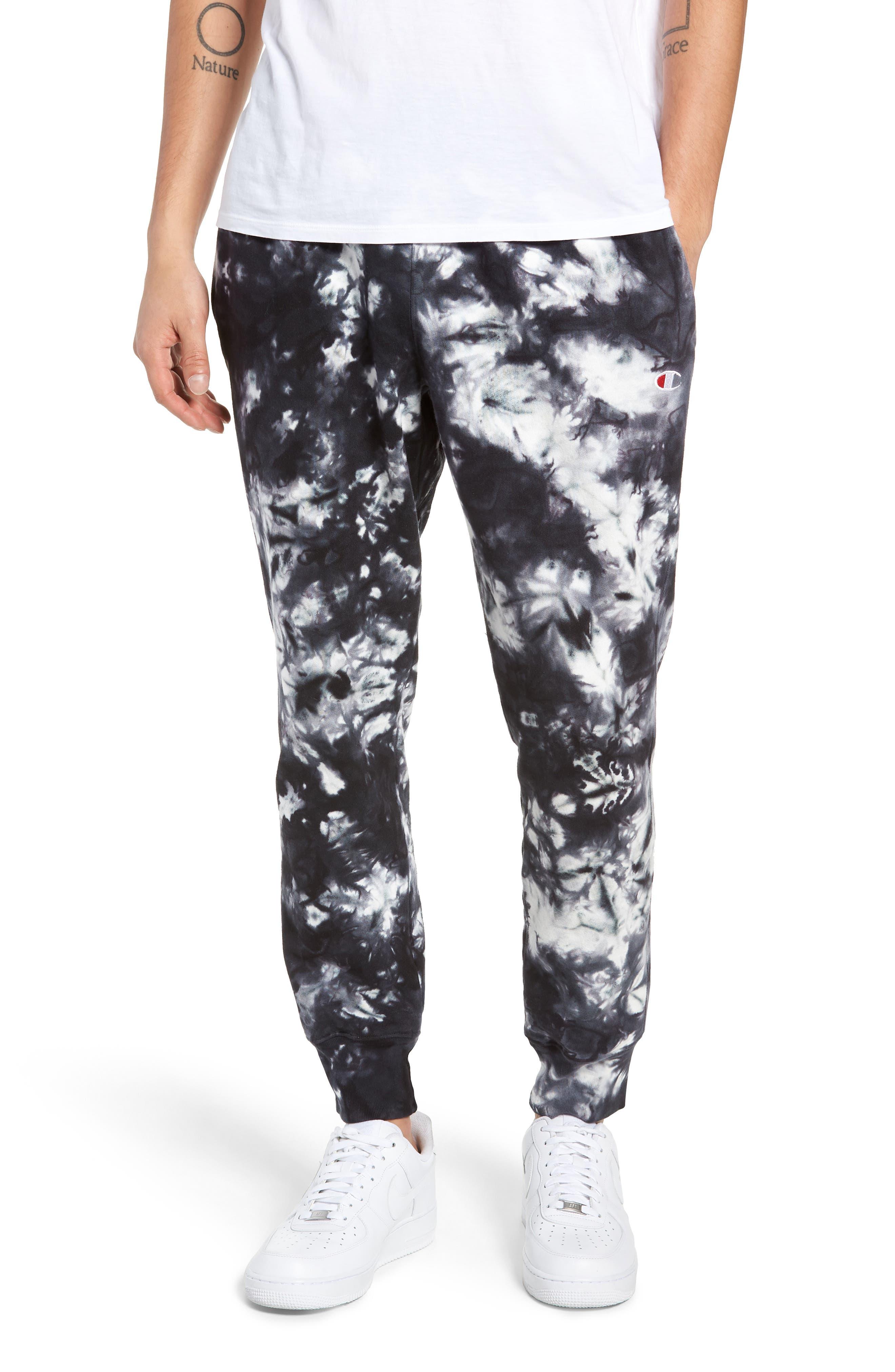 ,                             Scrunch Dye Reverse Sweatpants,                             Main thumbnail 1, color,                             BLACK