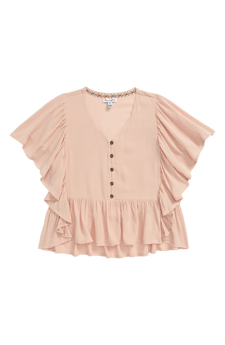 LOVE, FIRE Easy Ruffle Top, Main, color, PINK