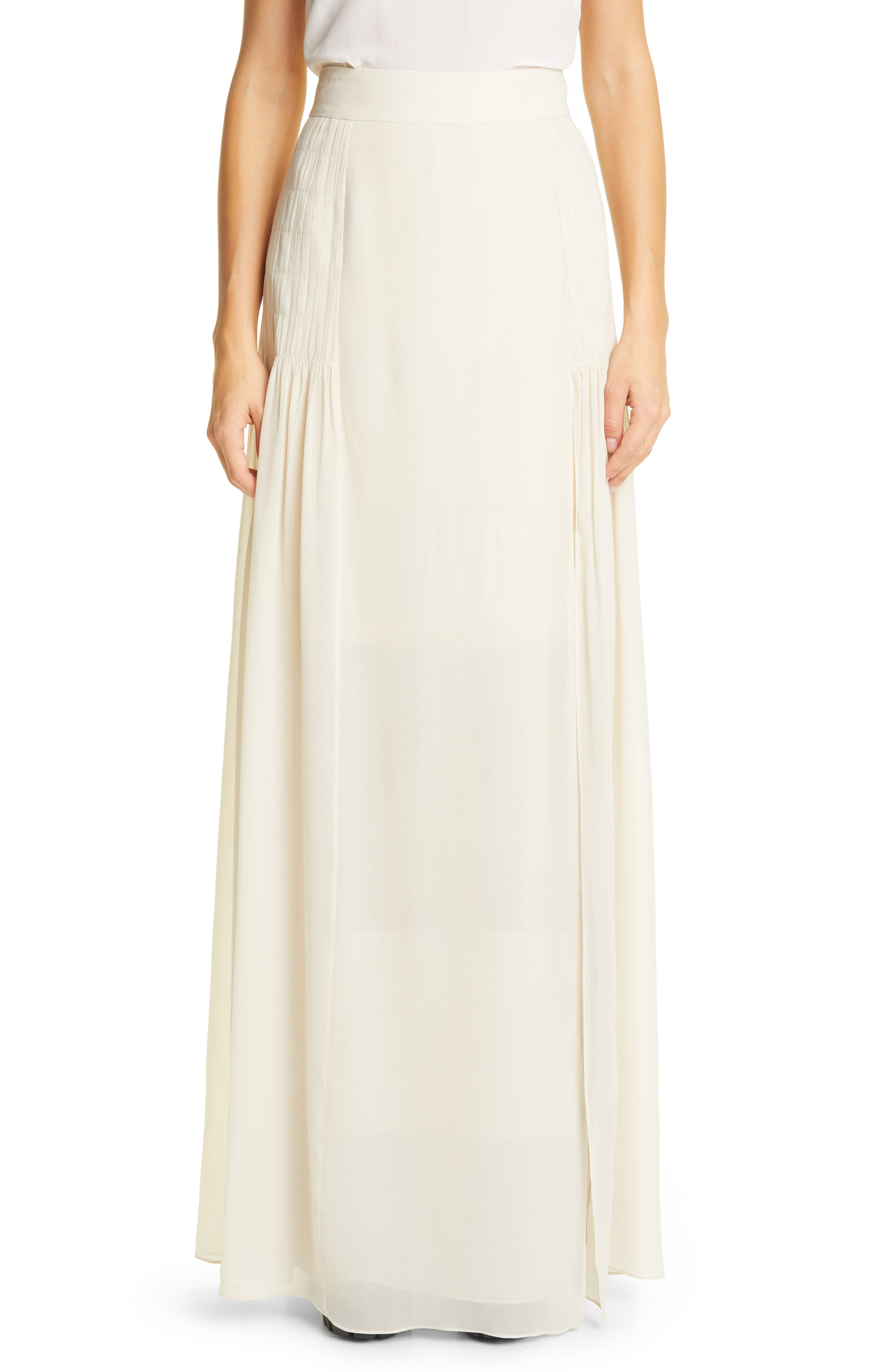 Akris PLEATED SILK GEORGETTE MAXI SKIRT