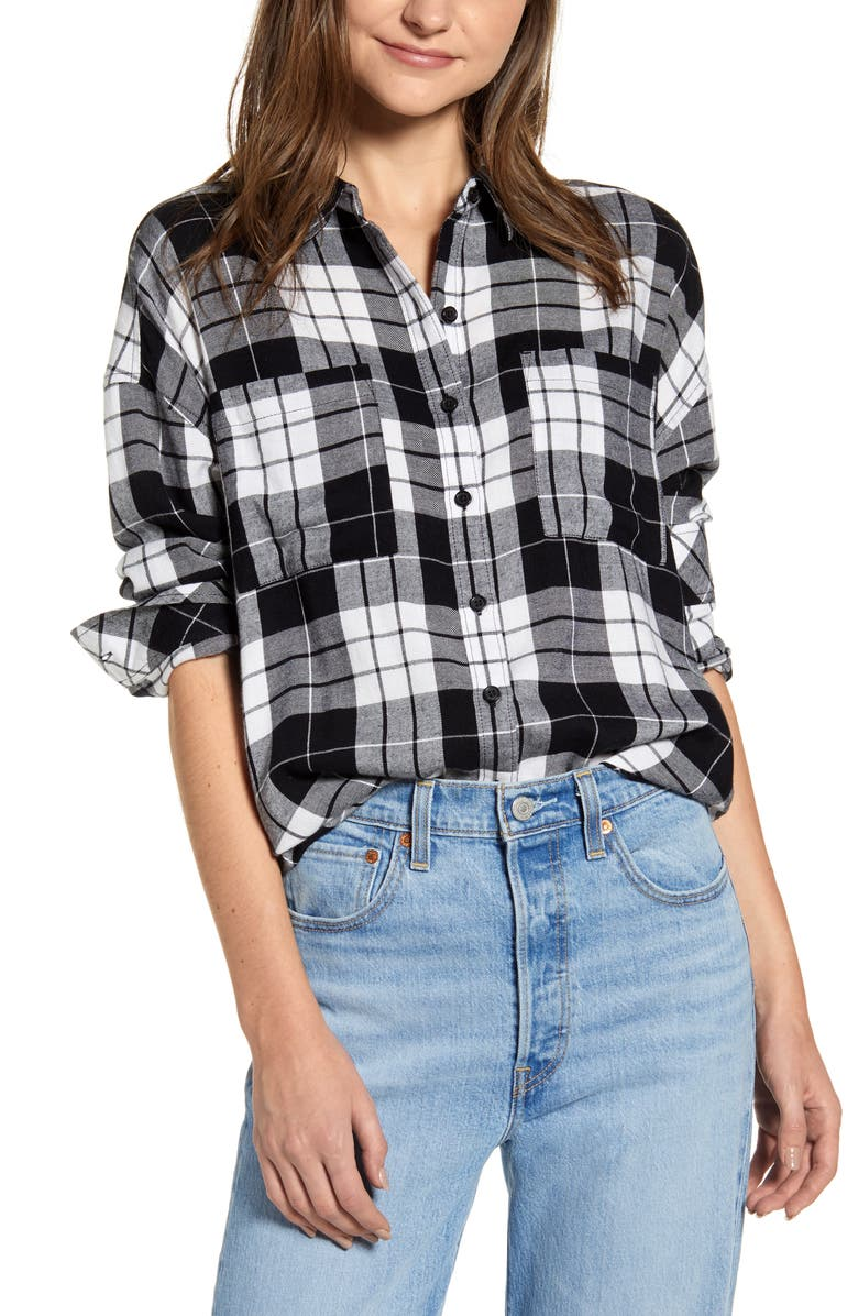 BP. Plaid Boyfriend Shirt, Main, color, BLACK CHARLIE PLAID