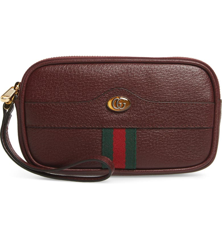 GUCCI Ophidia Leather iPhone Case, Main, color, VINTAGE BORD/ VERT RED VERT