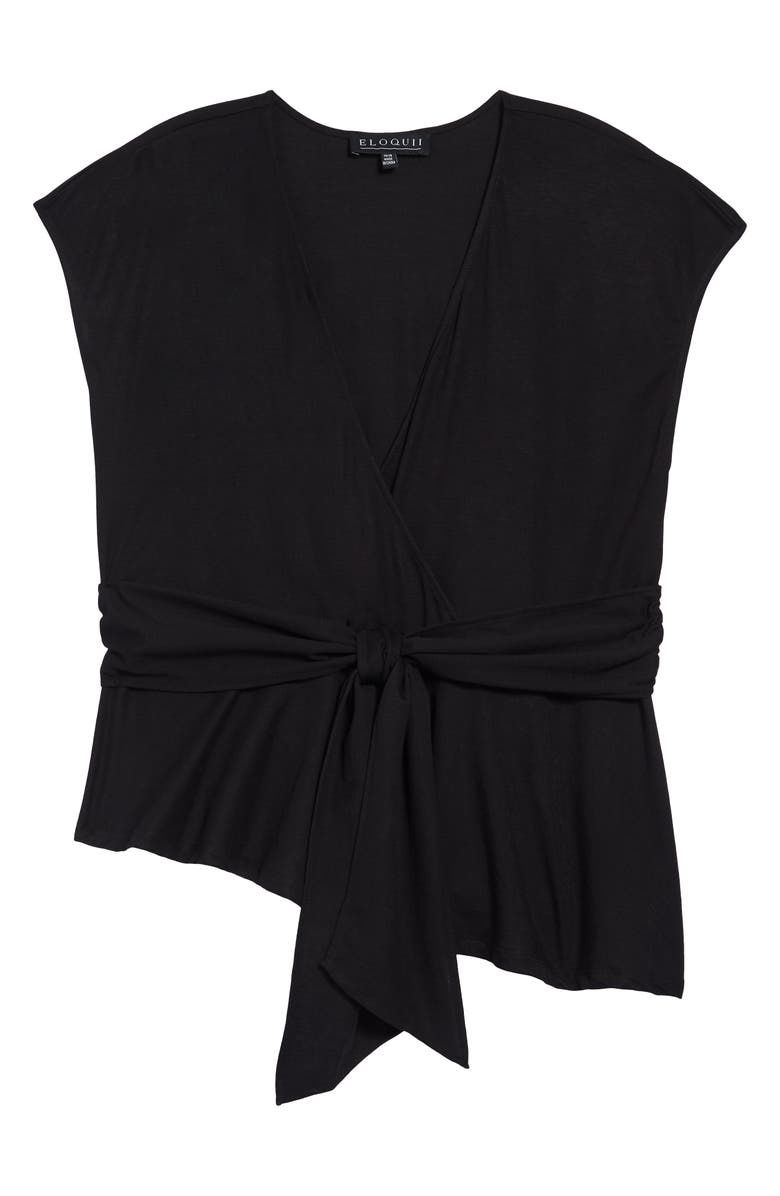 ELOQUII Asymmetrical Peplum Tie Waist Top, Main, color, TOTALLY BLACK