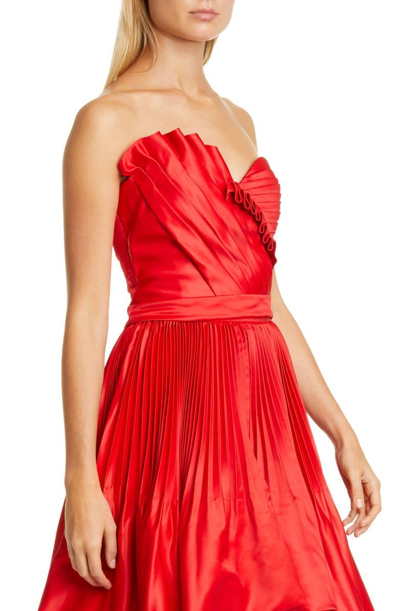 FLOR ET. AL flor. et al Anna Pleated Duchesse Satin Bustier Top, Main, color, RED