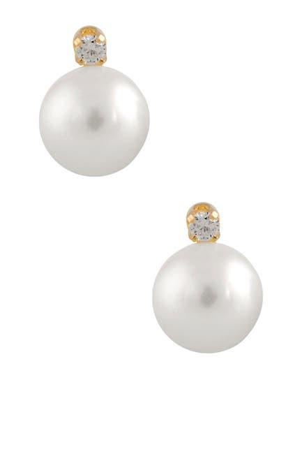 Image of Splendid Pearls 14K Yellow Gold White Cultured Freshwater Pearl & White Diamond Stud Earrings