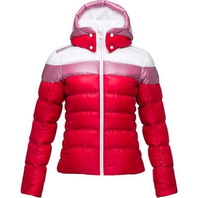 Rossignol Hiver Tailored Fit Waterproof 750-Fill-Power Down Jacket With Faux Fur Trim, Red