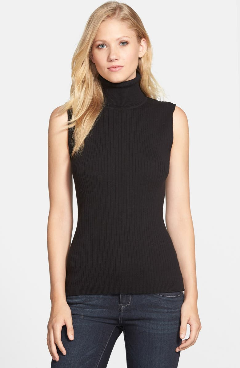 VINCE CAMUTO Sleeveless Ribbed Turtleneck Sweater, Main, color, 001