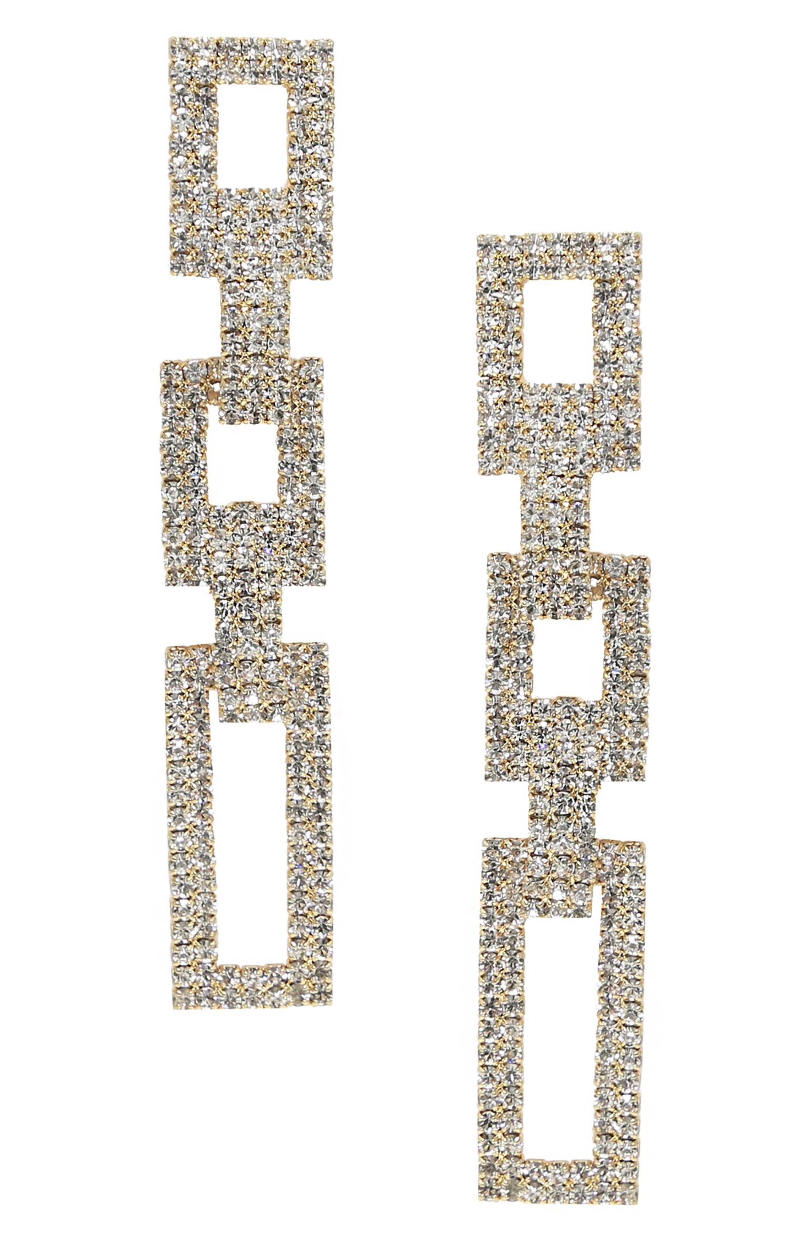 Rectangular Link Drop Earrings