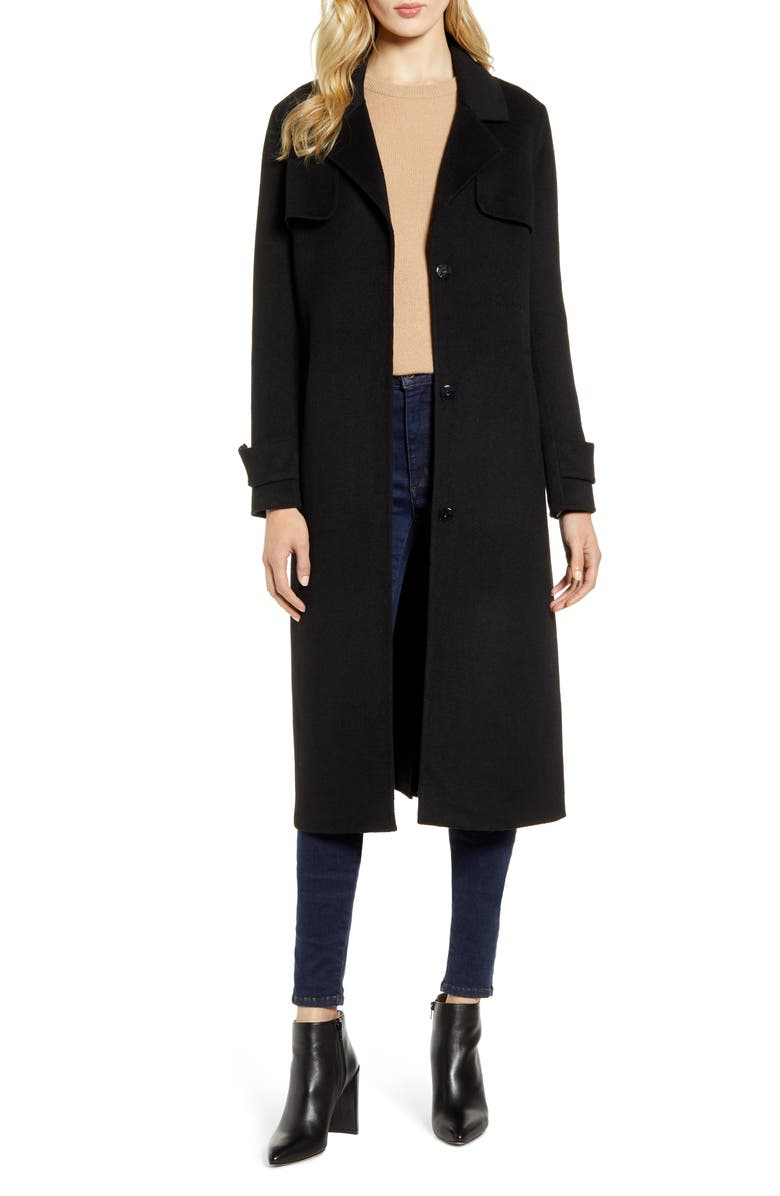 KENNETH COLE NEW YORK Double Face Wool Blend Coat, Main, color, BLACK