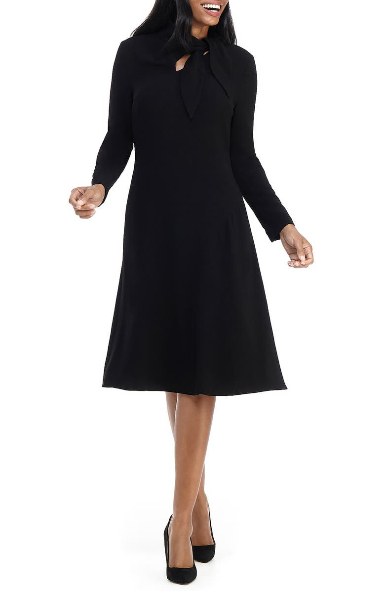 MAGGY LONDON Long Sleeve Tie Neck Dress, Main, color, BLACK