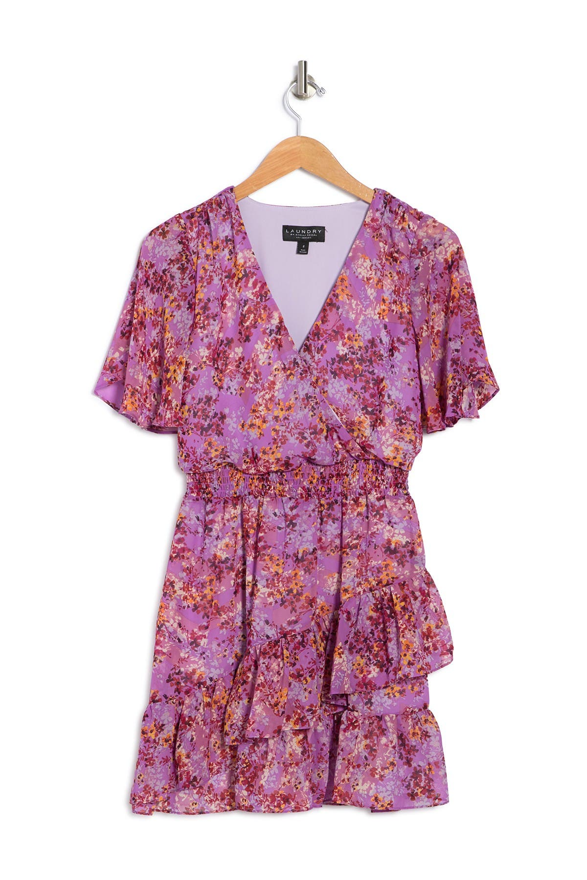 Laundry By Shelli Segal FLORAL TIERED RUFFLE MINI DRESS