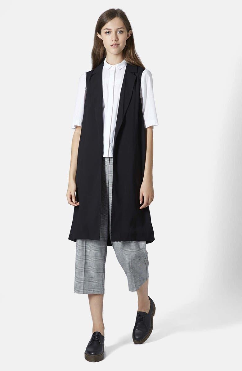 TOPSHOP Sleeveless Side Split Coat, Main, color, 001