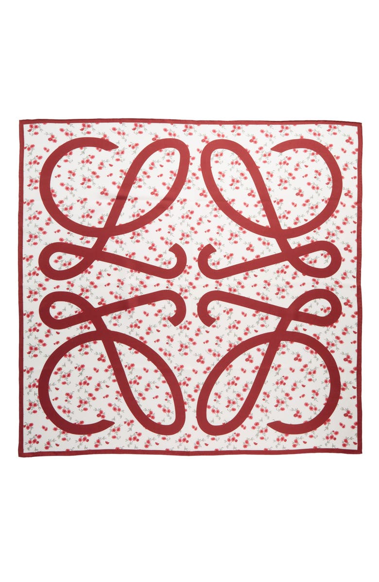 LOEWE Anagram Floral Silk Scarf, Main, color, RED