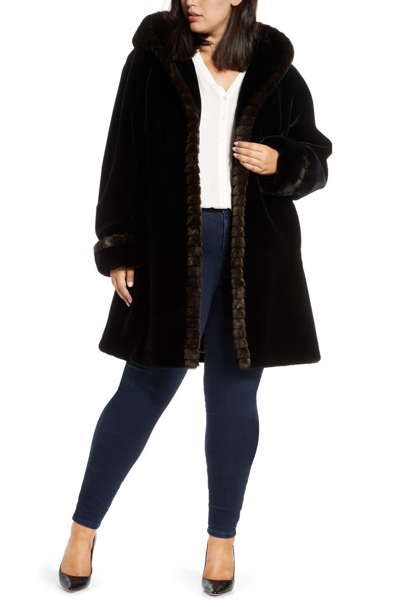 GALLERY Faux Fur Swing Coat, Main, color, BLACK