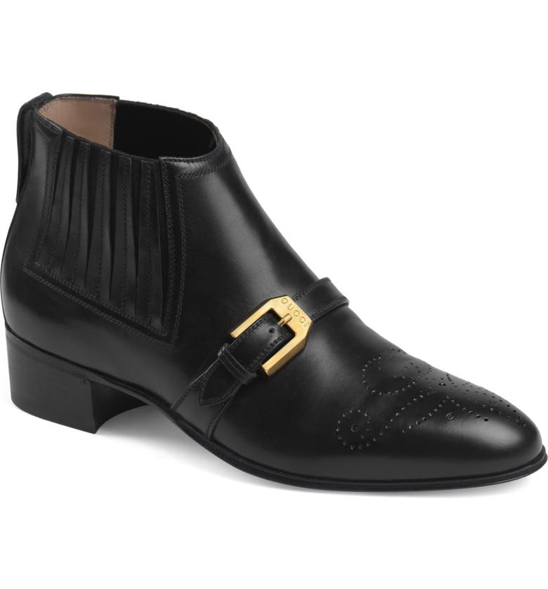 GUCCI Worsh Buckle Bootie, Main, color, BLACK