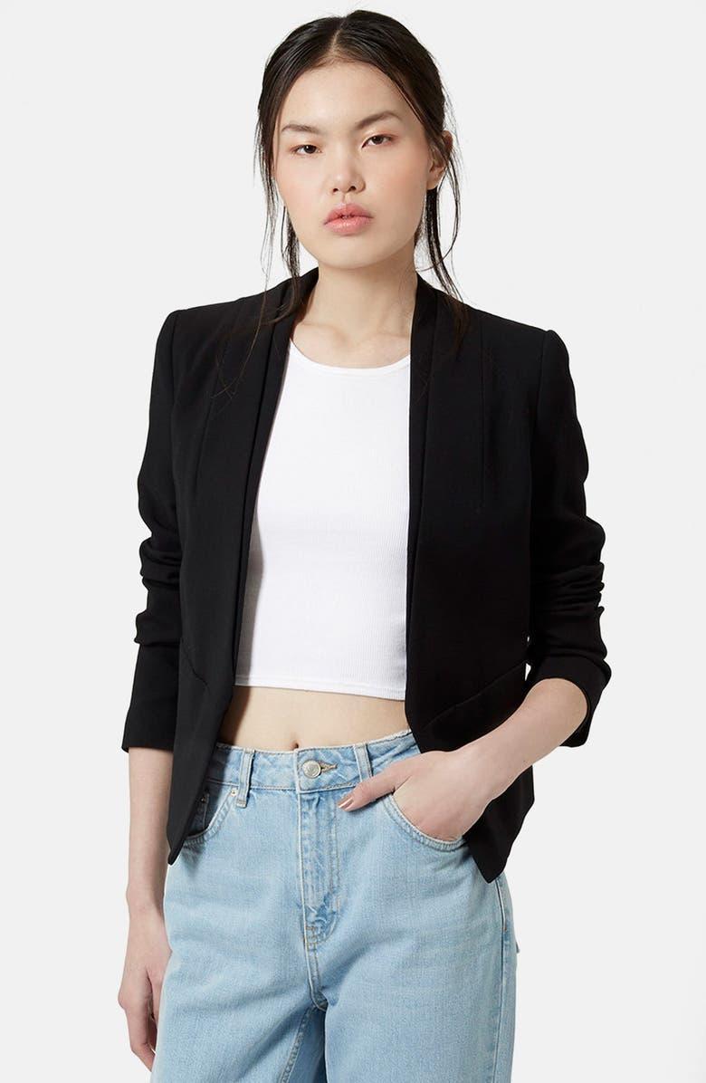 TOPSHOP 'Poppy' Double Collar Blazer, Main, color, 001