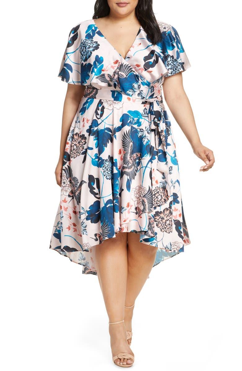 ELIZA J Floral High/Low Faux Wrap Dress, Main, color, BLUSH