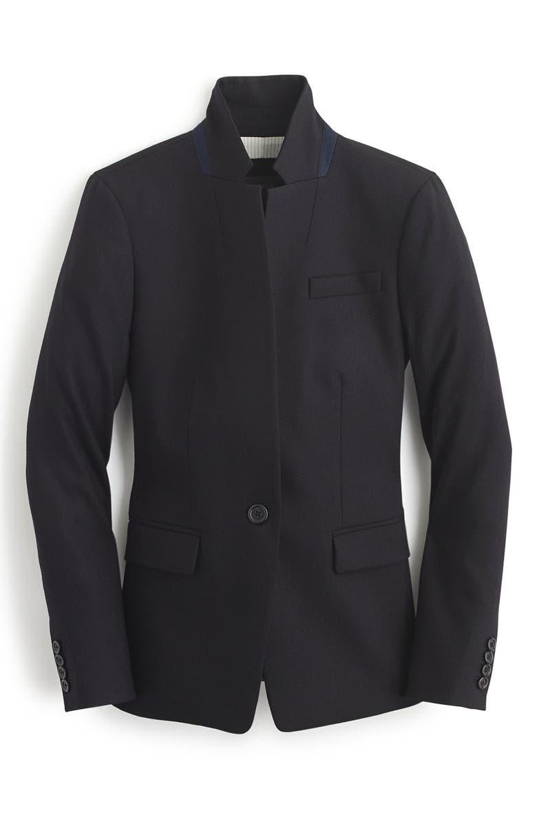 J.CREW Regent Stand Collar Blazer, Main, color, BLACK