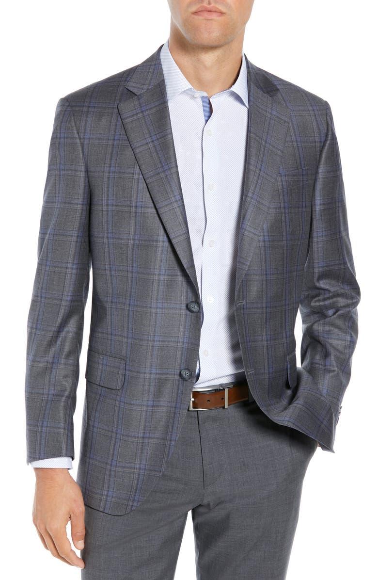 PETER MILLAR Classic Fit Grey Plaid Sport Coat, Main, color, GREY
