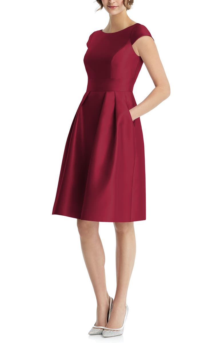 ALFRED SUNG Cap Sleeve Cocktail Dress, Main, color, BURGUNDY