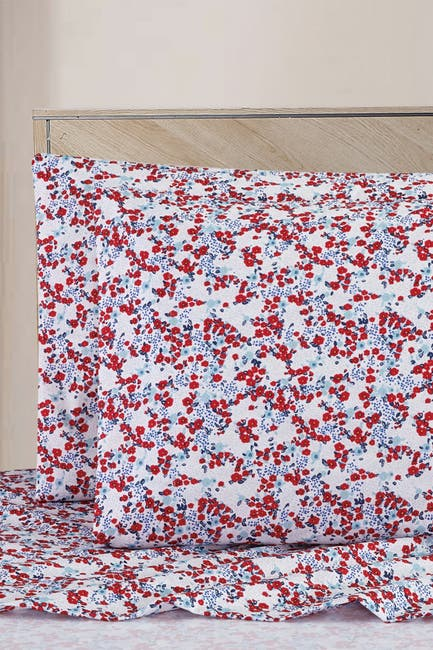 Image of Melange Home Vintage Red-Blue Floral Queen Sheet Set