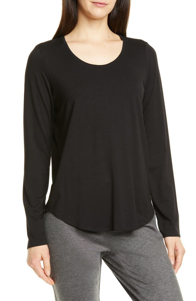 EILEEN FISHER Stretch Tencel<sup>®</sup> Lyocell Top, Main, color, BLACK