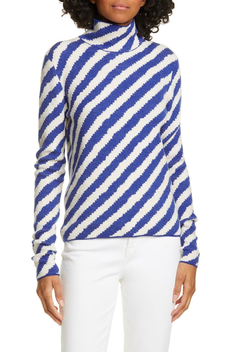 CHRISTIAN WIJNANTS Kasem Turtleneck Sweater, Main, color, OFF WHITE/ BLUE STRIPES