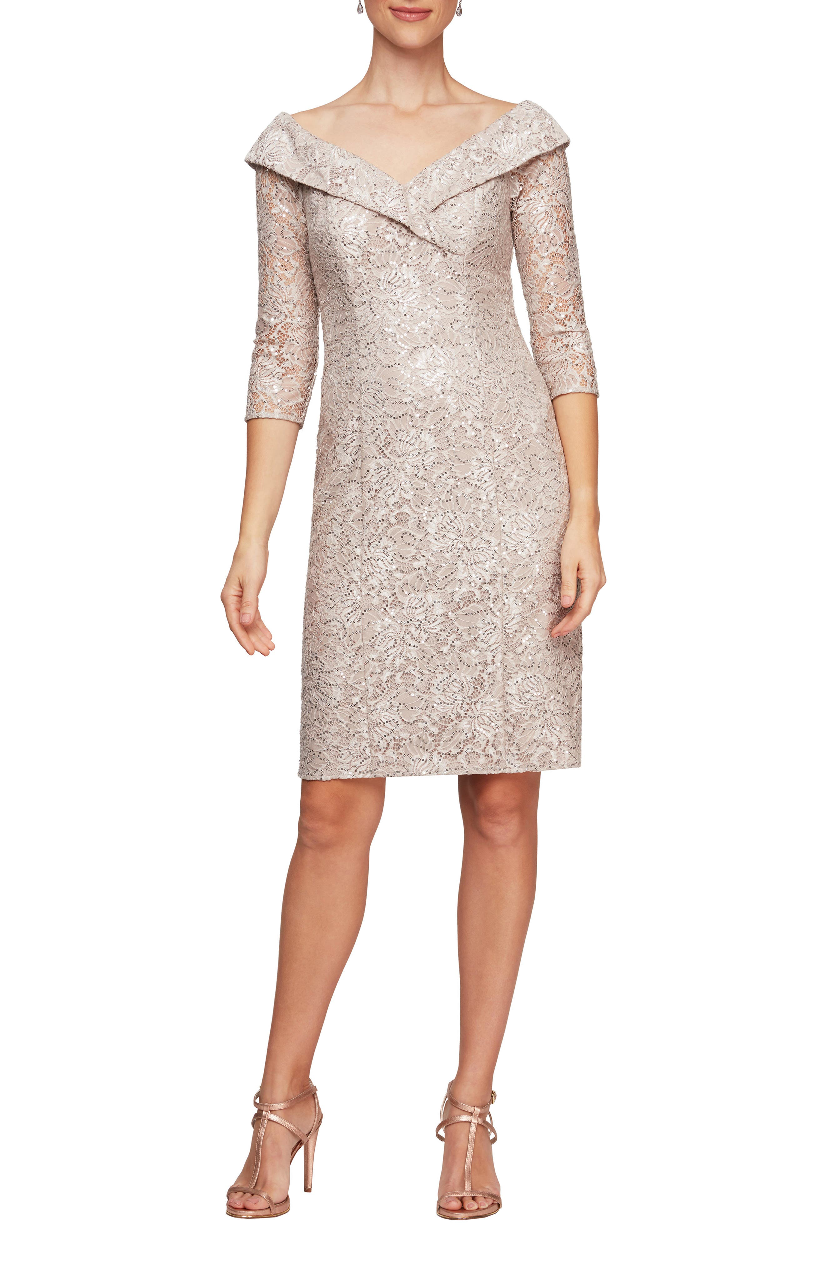 Alex Evenings Off the Shoulder Sequin Lace Sheath Dress | Nordstrom