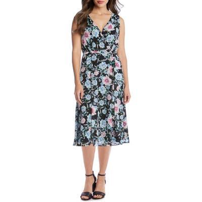 Karen Kane Floral Faux Wrap Sleeveless Midi Dress, Blue/green